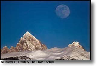 Moon over the Grand Tetons, Victor, Idaho, Teton Valley