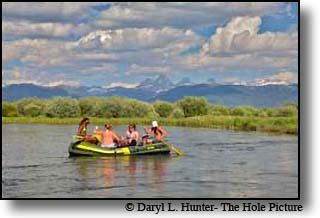 Rafters floating the Teton River in Teton Valley Idaho