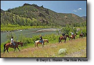 Trail Ride along the North Fork of the Shoshone River west of Cody Wyoming