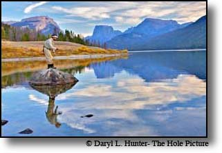 Fly-fisherman, reflection, square top mountains, green river lakes, pinedale, wyoming, wind river mountains