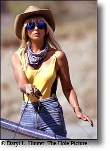 Actress, fly-fisherman, Heather Thomas improving the looks of the Snake River in Grand Teton National Park